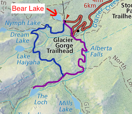 Map for Bear Lake in Rocky Mountain National Park