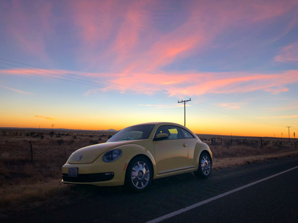 Marfa Texas Travel Car Sunset