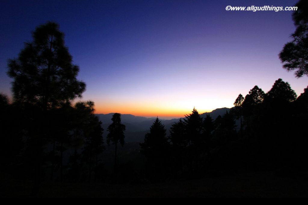 Mukteshwar town Uttarakhand India Sunset