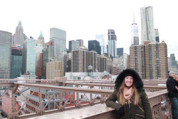 New York City, New York Skyline at Brooklyn Bridge in the winter