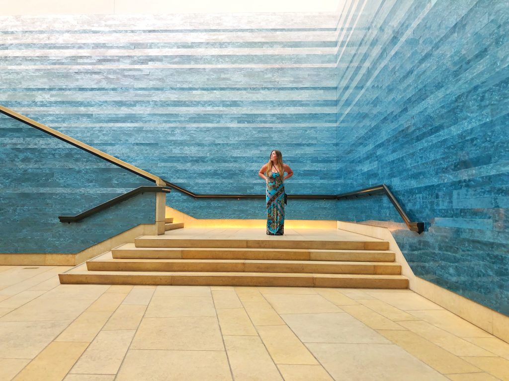 Blanton Museum of Art Austin Texas TX Stacked Waters Blue Wall Artwork Artpiece